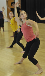 Students during a rehearsal for 'Le Sacredu Printemps' with the University Dance Company.