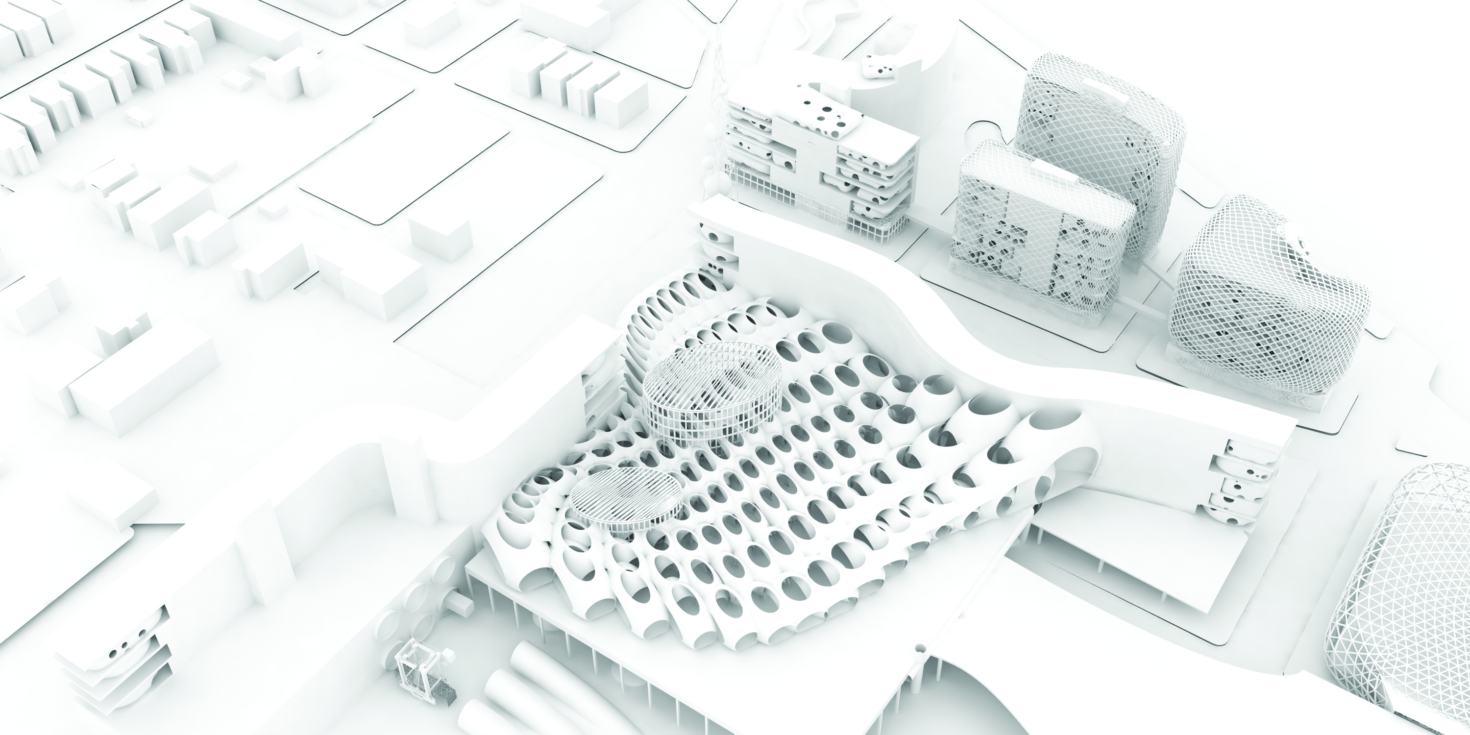 A(n) Office, Promised Land Air, 2016. Rendered aerial perspective of industrial studios with pneumatic freight, housing, air-purification network, and a Canadian consulate. Speculative project for Mexicantown/Southwest Detroit seen in The Architectural Imagination, an exhibition for the United States Pavilion, Biennale Architettura 2016, Venice. Courtesy A(n) Office.