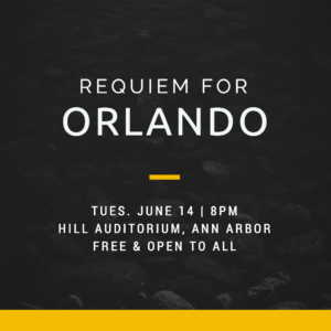 """Requiem for Orlando,"" a community performance of Mozart's Requiem, honors the victims of the shooting at the Pulse nightclub in Orlando, FL. Graphic by event organizers."