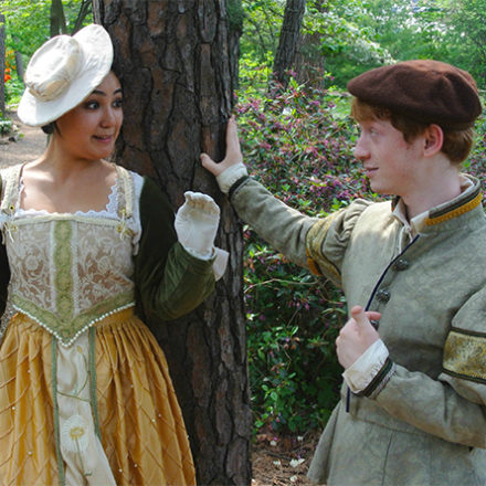 "Lord Berowne (Michael Shapiro) matches wits with Lady Rosaline (Amy Robbins) in ""Love's Labour's Lost."""
