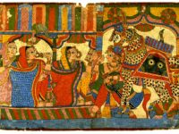 Women Greet a Horseman from the Mahâbhârata, India, Maharashtra, Paithan school, early to mid-19th century, ink and opaque watercolor on paper. Gift of Professor Walter M. and Nesta R. Spink for the James Marshall Plumer Memorial Collection, 1970/2.166