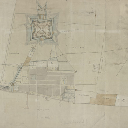 """Rough sketch of the King's Domain at Detroit,"" a 1790 manuscript plan of the city of Detroit, was discovered in a family home in Almonte, Canada. Image courtesy the University of Michigan William L. Clements Library."
