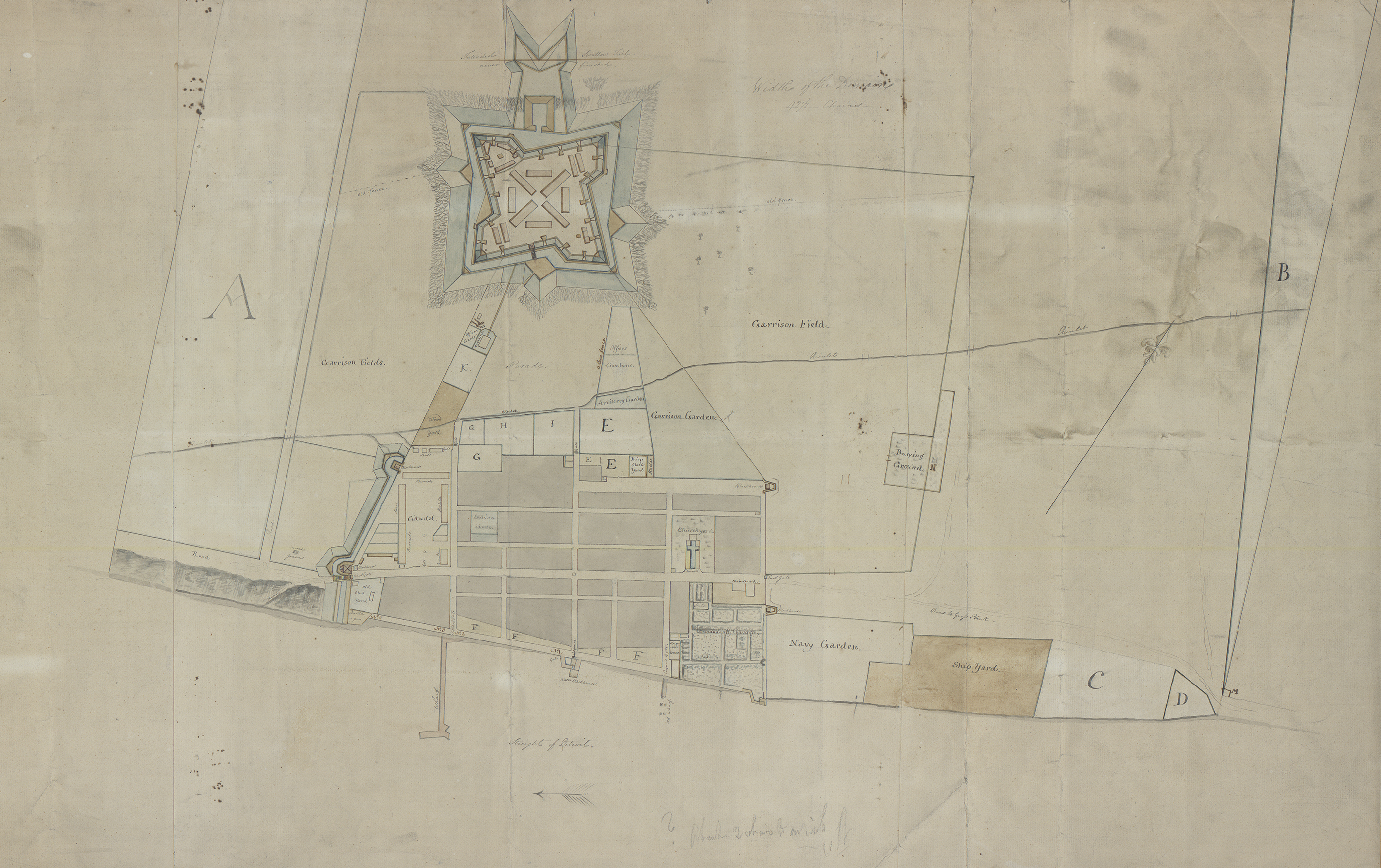 """""""Rough sketch of the King's Domain at Detroit,"""" a 1790 manuscript plan of the city of Detroit, was discovered in a family home in Almonte, Canada. Image courtesy the University of Michigan William L. Clements Library."""