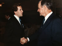 Dave Camp shakes hands with President George Herbert Walker Bush in 1991. Courtesy the Dave Camp archive at the University of Michigan Bentley Historical Library.