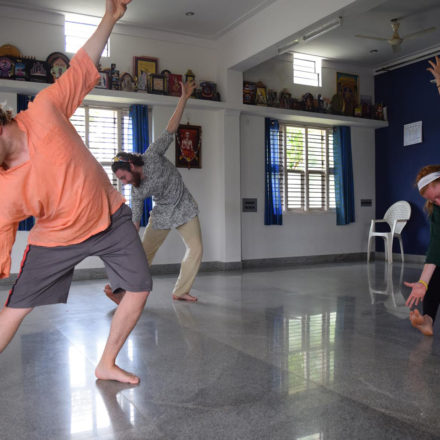 Chelsea Hamm and Kevin Allswede took Bharatnatyam lessons as part of the India program. (Photo credit: Chelsea Hamm)