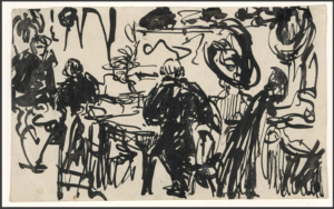 Ernst Kirchner, In the Restaurant, 1903, ink on cream wove paper. University of Michigan Museum of Art, Gift of the Ernst Pilgrim and Frances McSparran Collection, 2007/2.98