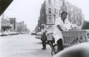 Man in a tricycle advertising tacos. Circa 1975. Photo by Nancy De Los Santos.