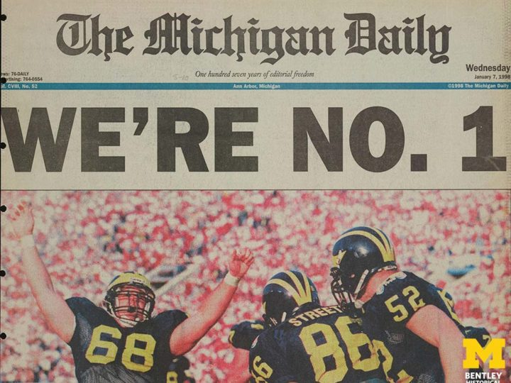 U-M Football National Championship on January 7, 1998. Courtesy of The Michigan Daily archive at the University of Michigan Bentley Historical Library