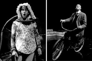 """At the University of Michigan: left, Benj Pasek as Yertle the Turtle in """"Seussical, the Musical""""; right, Justin Paul as F. Scott Fitzgerald in """"The Pursuit of Persephone."""" Photos by Peter Smith."""