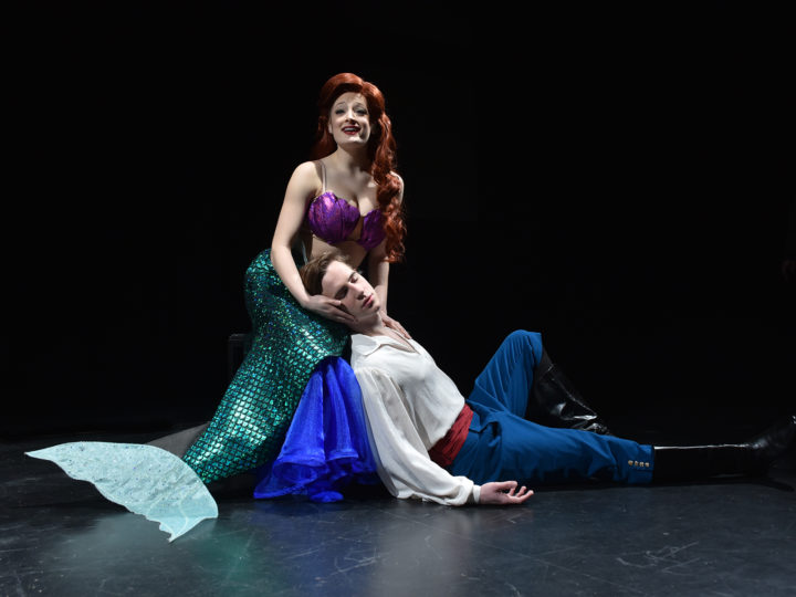 "Left to right - Halli Toland as Ariel and Trevor Carr as Prince Eric in the Department of Musical Theatre's production of Disney's ""The Little Mermaid."""