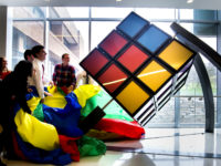 The unveiling of the Rubik's Cube on the second floor of the G.G. Brown Building. Photo courtesy of Joseph Xu, Michigan Engineering Communications & Marketing.