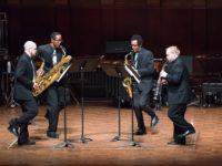 Senior winds division winners from the M-Prize 2016 Competition, the Kenari Quartet, perform at the grand prize gala at Hill Auditorium.