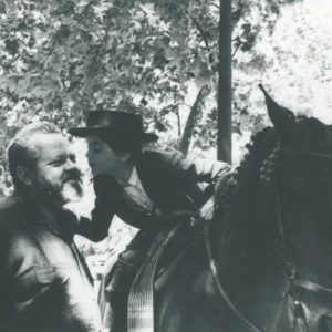 Orson Welles and daughter Beatrice Welles. Image courtesy the University of Michigan Library, Special Collections.