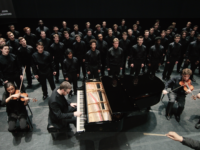 "Video Still of ""Seven Words of the Unarmed"" performance by U-M Men's Glee Club, Courtesy Chris McElroy, Michigan Media"