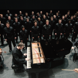"""Video Still of """"Seven Words of the Unarmed"""" performance by U-M Men's Glee Club, Courtesy Chris McElroy, Michigan Media"""