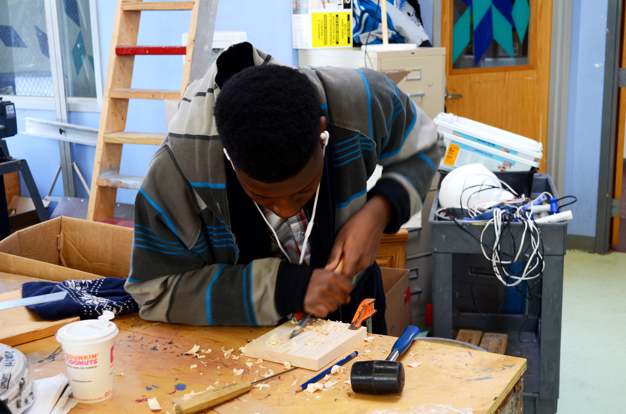 Students at the Brightmoor Maker Space participate in many different art and design workshops.