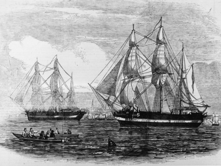 HMS Erebus and Terror. Image courtesy of the Illustrated London News