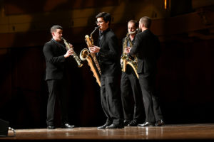 The Donald Sinta Quartet, senior winds division winners, competed for the 2017 $100K grand M-Prize, held at the University of Michigan's Hill Auditorium on Thursday, May 4. Ensemble members: Dan Graser (soprano saxophone), Zach Stern (alto saxophone), Joe Girard (tenor saxophone), Danny Hawthorne-Foss (baritone saxophone). Photo by Lon Horwedel, Michigan Photography.