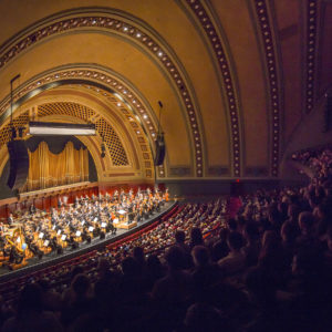 The New York Philharmonic performed at the University of Michigan's Hill Auditorium in November 2017 for the first of a five-year-long orchestral residency with the University Musical Society (UMS). Photo by Chris Lee.