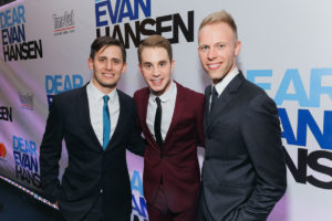 Dear Evan Hansen's music duo Benj Pasek and Justin Paul get together with the tuner's headliner Ben Platt. Photo by Emilio Madrid-Kuser.