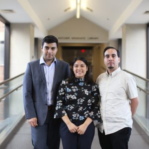 Jesus Espinoza (left), Sheila García and Edras Rodríguez-Torres, arrived on campus this fall as the cohort of a new Resident Librarian program that focuses on diversity, part of a nationwide initiative to increase diversity within the ranks of academic and research libraries.