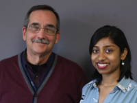 U-M medical student Trisha Paul (right) talks with her professor and mentor Ken Pitch, medical director of the Pediatric Palliative Care Program at Mott Children's Hospital.