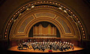 The University of MichiganSymphony Band in Hill Auditorium, conducted by Michael Haithcock. Photo by Peter Smith, courtesy U-M School of Music, Theatre & Dance.