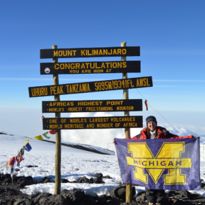 Megan Malm at the top of Mr. Kilimanjaro in Tanzania.