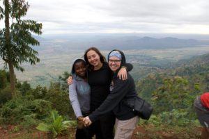 Megan Malm with her friends in Tanzania.