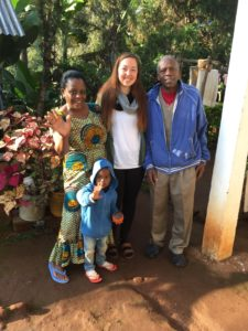 Megan Malm with her host family in Tanzania.