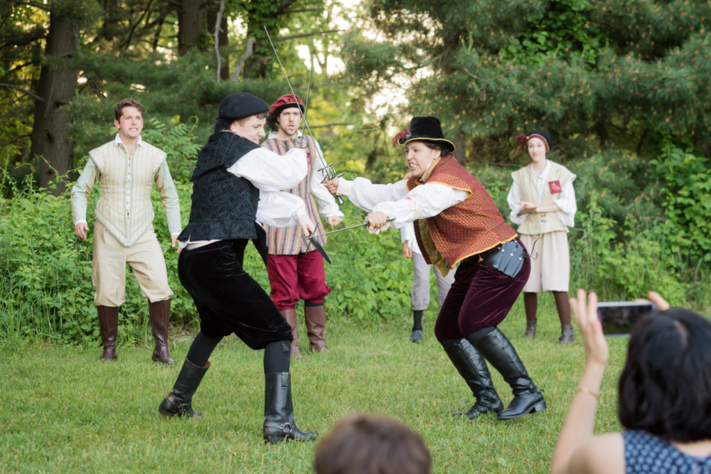 U-M's Shakespeare in the Arb productions take audiences on a journey with the actors through Nichols Arboretum. Photo by Daryl Marshke, Michigan Photography.