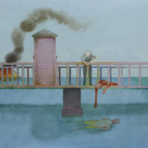 "Ellen Wilt, ""Bridge with Toll Booth"" from the ""Bridges series,"" 1995; Water Media, 21"" x 51"". Image courtesy Barbara Bach."