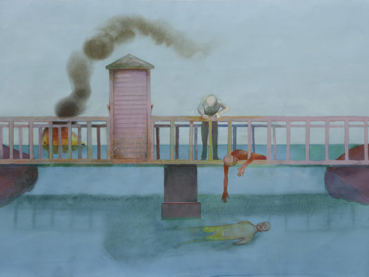 """Ellen Wilt, """"Bridge with Toll Booth"""" from the """"Bridges series,"""" 1995; Water Media, 21"""" x 51"""". Image courtesy Barbara Bach."""
