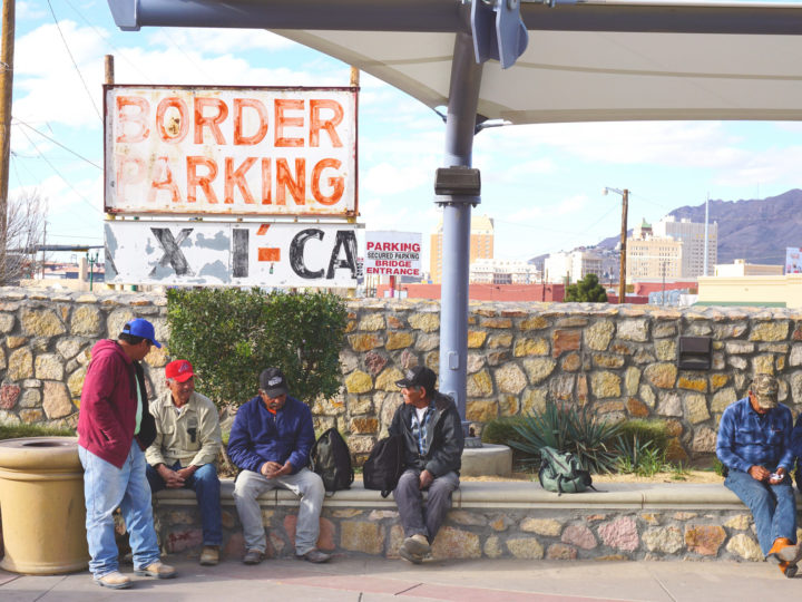 In El Paso-Juárez area, people's lives transcend national borders. This image shows workers waiting to cross back over the border into Mexico after completing their work days on the US side of the border. Photo by Shane Donnelly.