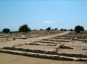 Olynthos North Hill in Greece; area excavated 1928–38 and now restored for visitors. Photo by Lisa Nevett, courtesy the University of Michigan Kelsey Museum of Archaeology.