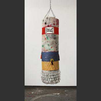 Jeffrey Gibson, Everlast, 2011-12, Wool, canvas, steel, acrylic paint, glass beads, artificial sinew, tin jingles. Image credit: Ed Watkins