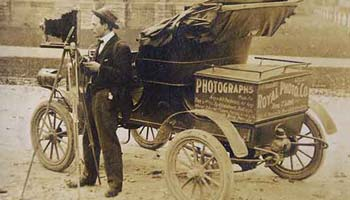 Royal T. Gillette with his camera and car. (Gelatin silver print by the Royal Photo Company, circa 1907.)