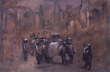 "Image: ""German Prisoners and Wounded- British Escort, Ypres, Belgium, 1917"" watercolor, ink, 27"" x 20"" 1955"