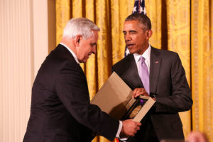 United States President Barack Obama presents the National Medal of Arts to the University Musical Society of Ann Arbor, Michigan. In the photo above, UMS president Ken Fischer accepts the award on behalf of UMS. Photo courtesy UMS.