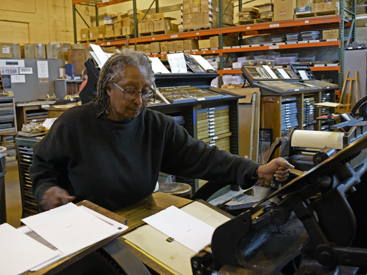Marianetta Porter at Wolverine Press, Ann Arbor, November 2015. Photo: ©Raymond Silverman