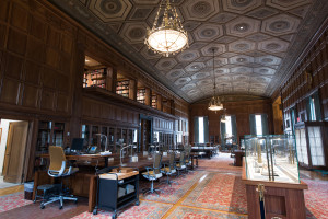 "The Avenir Foundation Room, formerly referred to as the ""Great Room"" at U-M's William L. Clements Library, is now the main research space for students and scholars working with the collection. Photo by Eric Bronson, Michigan Photography"