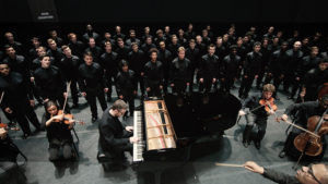 "The U-M Men's Glee Club performs during the filming of ""Love, Life & Loss,"" a Michigan Media film premiering on April 27."