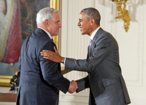 President Barack Obama presented the National Medal of Arts to the University Musical Society of Ann Arbor, Michigan, received by society President Kenneth Fischer during a ceremony in the East Room of the White House in Washington, DC on Thursday, September 10, 2015. (Photo by Ron Sachs/CNP)