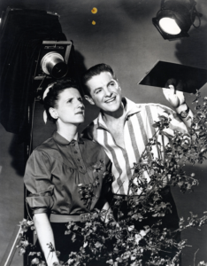 Davis as the character Schultzy with Bob Cummings on the set of The Bob Cummings Show. (Bentley image HS15010)