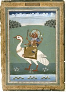 Page from an Indian zodiac manuscript: Elephant-Headed Figure on a White Bird, India, Rajasthan, Jaipur school, ca. 1840, ink, opaque watercolor, and gold on paper. Gift of Professor Walter M. and Nesta R. Spink, 1985.