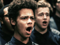 """Video still of """"Seven Last Words of the Unarmed"""" performance by University of Michigan Men's Glee Club. Courtesy Chris McElroy, Michigan Media."""