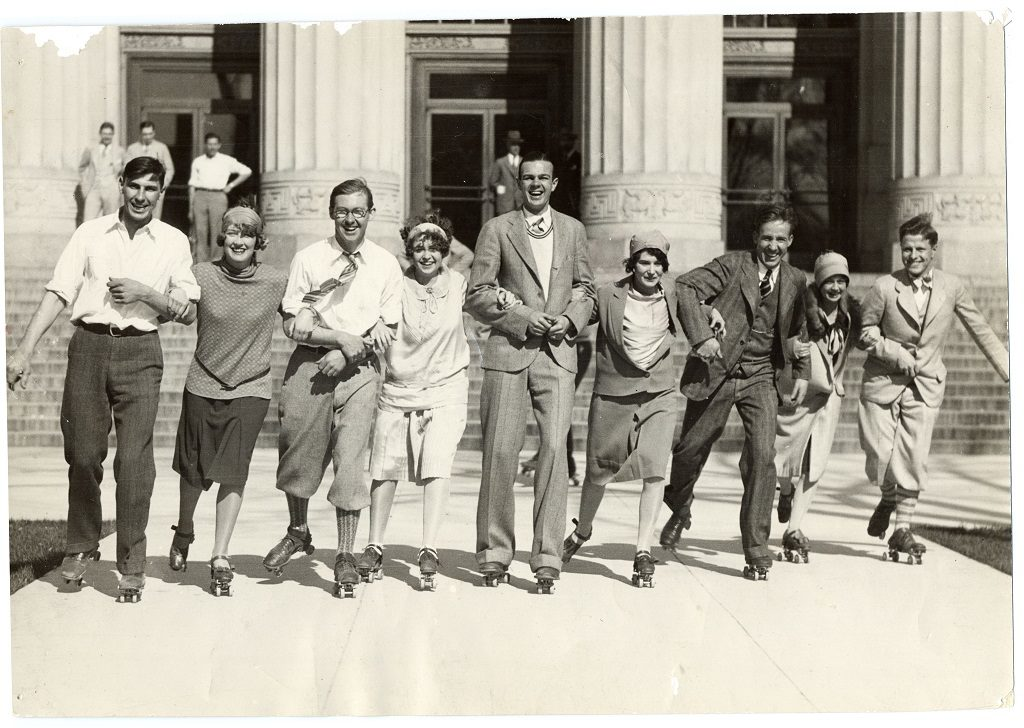 Students rollerskating in front of Angell Hall, April 30, 1927. Photo courtesy of Rob Havey at Bentley Historical Library.