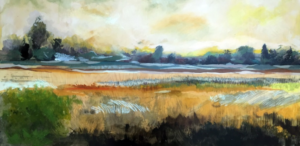 Andrew Sell, 'Distance Expanse' Nichols Arboretum, The Prairie at Dow Field. Gouache, watercolor, pastel, and graphite on birch panel. 2015