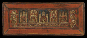 """The Four Gods of the Kadam "" in Celestial Palaces, outer face, lower book cover, Western Tibet, 12th century, wood with paint and gilding. MacLean Collection"