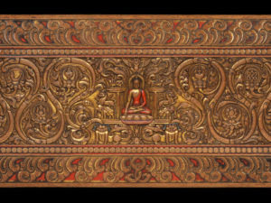Shakyamuni, outer face, upper book cover, Tibet, vol. 1, 14th–15th century, wood with traces of paint and gilding, MacLean Collection